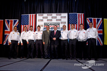 Chip Ganassi Racing with Felix Sabates: Chip Ganassi and  Felix Sabate pose with their drivers