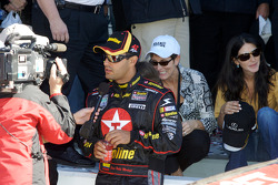 Victory lane: TV interview for Juan Pablo Montoya