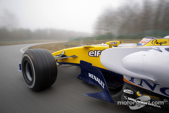 The Renault F1 R28 on track