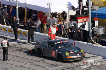 Pit stop for #23 Wright Motorsports Porsche 997: Andy Hauck III, BJ Zacharias