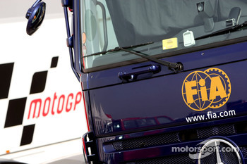 FIA and MotoGP trucks in the paddock