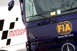 FIA and MotoGP trucks in the paddock