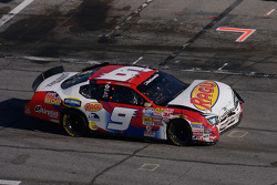Kasey Kahne drives his wrecked car on pit road