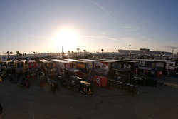Overall view of the empty garage area early in the morning
