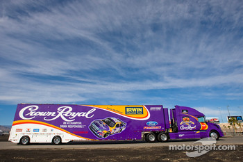 The Crown Royal team hauler makes its' way into the Las Vegas Motor Speedway