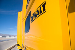Dewalt decal on the side of the hauler
