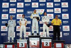Podium, Gabriele Tarquini, SEAT Sport, SEAT Leon TDI, Felix Porteiro, BMW Team Italy-Spain, BMW 320si, Andy Priaulx, BMW Team UK, BMW 320si WTCC, Oliver Tielemans, Wiechers-Sport, BMW 320si