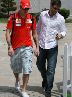 Kimi Raikkonen, Scuderia Ferrari and Steve Robertson, Manager of Kimi Raikkonen