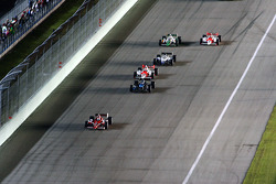 Race action on the front stretch