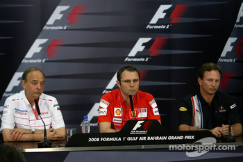 FIA press conference: John Howett, Toyota Racing, President TMG, Stefano Domenicali, Scuderia Ferrari, Sporting Director and Christian Horner, Red Bull Racing, Sporting Director