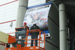 Jimmie Johnson admires his new championship banner