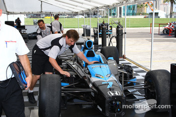 Car of Danica Patrick is inspected by an IndyCar Series official