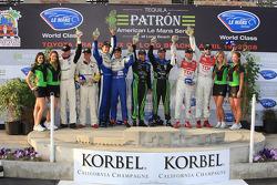 Class winners podium: GT1 winners Johnny O'Connell and Jan Magnussen, GT2 winners Dirk Muller and Dominik Farnbacher, P2 winners David Brabham and Scott Sharp, P1 winners Lucas Luhr and Marco Werner