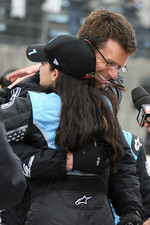 Race winner Danica Patrick celebrates with husband Paul