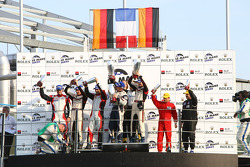 LMGT2 podium: class winners Richard Lietz and Raymond Narac, second place Allan Simonsen, Richard Westbrook and Lars Erik Nielsen, third place Pierre Ehret and Pierre Kaffer