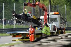Aftermath of Stéphane Ortelli's violent crash