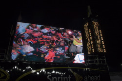 Race winner Denny Hamlin on the giant screen
