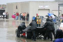 IndyCar Series teams head back to the garage area after day 2 practice was cancelled due to rain