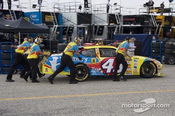 Bobby Labonte gets pushed in by his crew