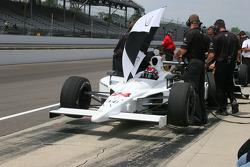 John Andretti waits to practice