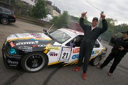 A happy drift challenge participant after his burnout