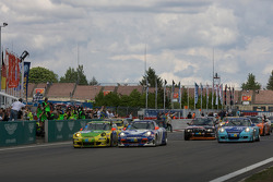 #1 Manthey Racing Porsche 911 GT3 RSR: Timo Bernhard, Marc Lieb, Romain Dumas, Marcel Tiemann takes checkered flag to win the race