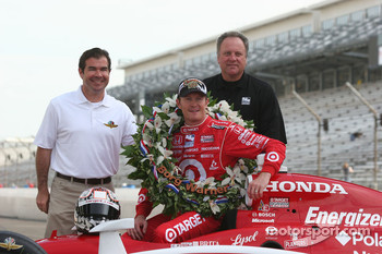 Joie Chitwood, Brian Barnhart and Scott Dixon