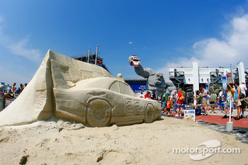 A sand sculpture of Bobby Allsion's 1970 Dodge that ran at Dover International Speedway in Victory Plaza