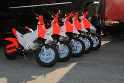 The Penske scooters are neatly lined up