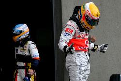 Pole winner Lewis Hamilton, McLaren Mercedes and Fernando Alonso, Renault F1 Team