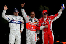 Pole winner Lewis Hamilton with Robert Kubica and Kimi Raikkonen