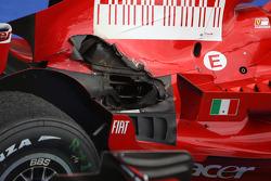 Burnt bodywork and damaged exhaust on the Ferrari of Kimi Raikkonen