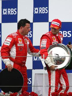 Podium: race winner Felipe Massa with Luca Baldisserri