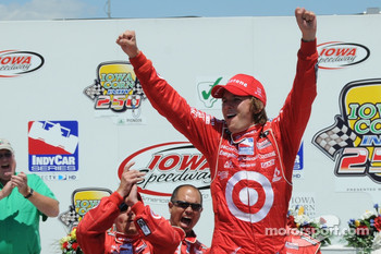Victory lane: Dan Wheldon celebrates