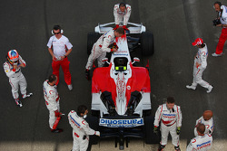 Timo Glock, Toyota F1 Team, TF108 and Jarno Trulli, Toyota Racing