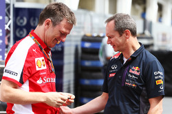 (L to R): James Allison, Ferrari Chassis Technical Director with Paul Monaghan, Red Bull Racing Chief Engineer