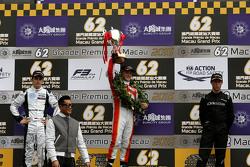 Podium: winner Felix Rosenqvist, Prema Powerteam, second place Charles Leclerc, Van Amersfoort Racing, third place Alexander Sims, Double R Racing