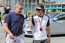(L to R): Carlos Sainz, with Fernando Alonso, McLaren