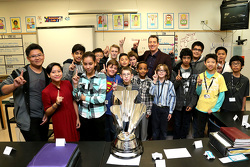 2015 NASCAR Sprint Cup Series champion Kyle Busch, Joe Gibbs Racing Toyota at Lawrence Junior High School