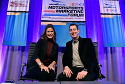NASCAR reporter Jamie Little and 2015 Sprint Cup Series champion Kyle Busch, Joe Gibbs Racing Toyota