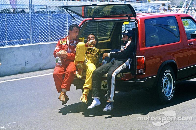 Race winner Keke Rosberg, Williams, second place René Arnoux, Ferrari, third place Elio de Angelis, Lotus