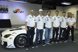 Bobby Rahal, John Edwards, Lucas Luhr, Graham Rahal, Kuno Wittmer with the 100th anniversary BMW M6 GTLM livery