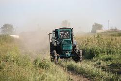 A farm tractor