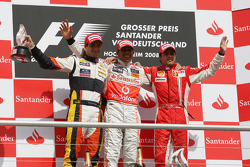 Podium: race winner Lewis Hamilton, second place Nelson A. Piquet, third place Felipe Massa