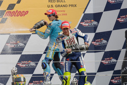 Podium: champagne for Valentino Rossi and Chris Vermeulen