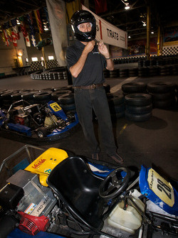 Drivers and media go-kart event: Ron Fellows gets ready