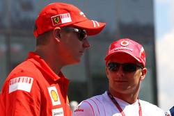 Kimi Raikkonen, Scuderia Ferrari and Heikki Kovalainen, McLaren Mercedes