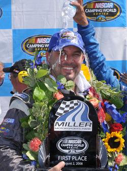Victory lane: race winner Todd Souza celebrates
