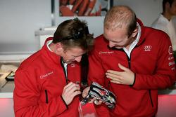 Allan McNish and Alexandre Prémat play slot cars