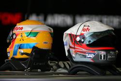 Helmets of Lewis Hamilton, McLaren Mercedes and Heikki Kovalainen, McLaren Mercedes